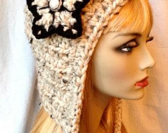Hoodie Elf Hat Pixie Hat, Hood, Oatmeal Cozy Womens Hat, Flower, Chunky, Teens Girls, Winter, Head Cover, Birthday Gifts, Handmade JE808HOF2