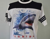 Vintage Shark Jersey Florida 90s Football Style tee nature science ocean fish beach vacation Tshirt White Navy Blue LARGE