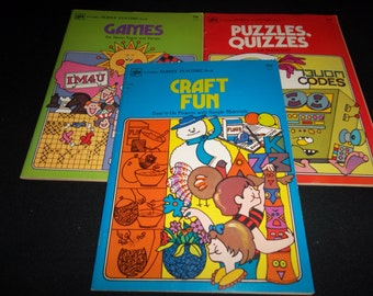 Vintage 1975 Golden Family Funtime Books Set of Three Craft Fun, Games and Puzzles,Quizzes