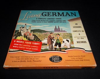 Vintage 1956 Living GERMAN A Complete Language Course, 4 Records and 2 Text Books