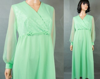 Vintage Chiffon Sleeve Disco Dress Sz 14 L Mint Green Long Empire Waist Costume Free US Shipping