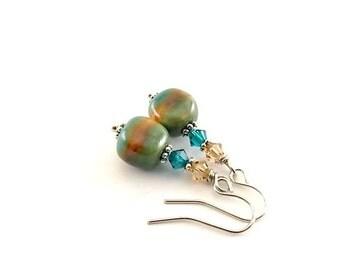 Green Orange Stripe Earrings - Kazuri Earrings - Swarovski Earrings - Blue Zircon Earrings - Topaz Earrings - Wire Earrings -Silver Earrings