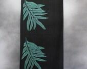Shawl, Black, with Block-Printed Green Lauaʻe (Hawaiian Fern) Leaves