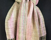 Ladies Handwoven Scarf, Tencel, Hand dyed, OOAK, Rose, Green, Tan, Hand Twisted Fringe
