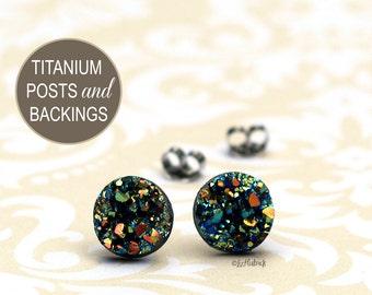 Titanium Stud Earrings, Faux Druzy Studs, Multi Color Rainbow Glitter on Black. Titanium Posts