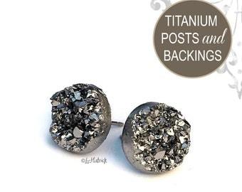 Glitter Stud Titanium Earrings, 12mm, Gunmetal Gray Metallic Faux Druzy with Titanium Posts