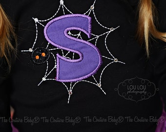 Spider Web Personalized Initial Halloween Shirt Girl