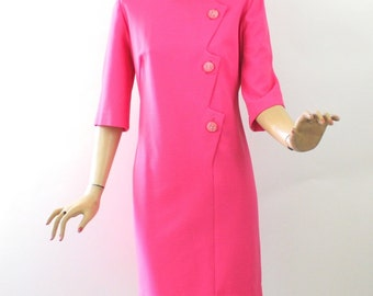 Vintage 60s Dinner Dress Fuchsia Pink Rib Knit w Rhinestone Buttons by Lady Mendel Knits Bust 40
