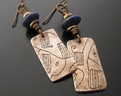 African Bark Cloth Earrings with Lapis Lazuli