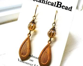 Vintage copper earrings, vintage drop earrings, glass melon drops, vintage earrings