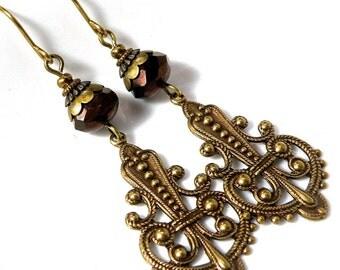 Brass filligree earrings, antiqued brass dangles, detailed brass earrings, vintaj brass earrings, czech glass earrings,