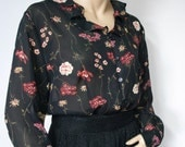 Vintage Ruffle Blouse Black Floral Womens Shirt Long Sleeve Sheer Size Medium