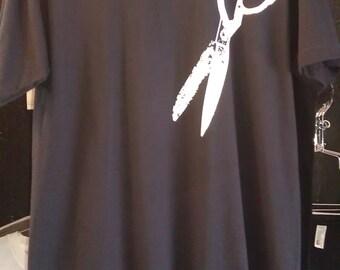 Scissors T-Shirt Made in USA Black  XS S M L  XL or xxl