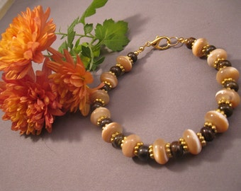 Mother of Pearl and Bronzite Bracelet