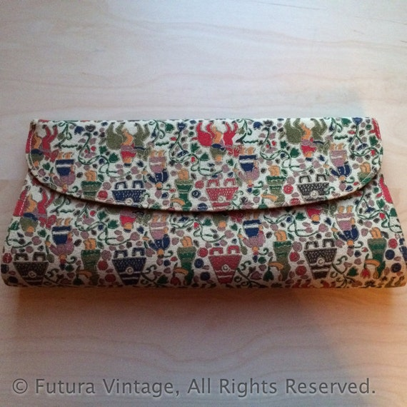 Unique 1950s Colorful Tapestry Novelty Clutch Purse with Snap Closure and Inside Pocket