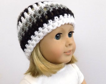Crocheted Doll Hat, 18 Inch Doll Clothes, Striped Doll Beanie