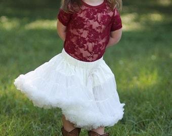 Girls Ruffle Skirt- Baby Skirt- Toddler Skirt- Girls Ivory Skirt-Lace Petti- 1st Birthday Outfit- Tutu skirt-Extra Fluffy Skirt