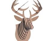 Deer Faux Taxidermy Buck Jr - Medium Cardboard Deer Head - Brown Deer Wall Art Camping Decor Gift For Him