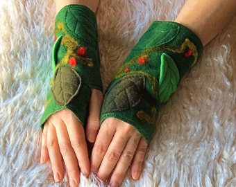 Rowan Tree Felted Fleece Arm Warmers, Goddess Elven Woodland Faery Magic Clothing Accessories, Fingerless Gloves