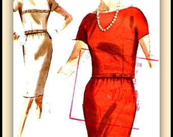 "1960's McCalls Pattern 6151 - FANCY Two Piece dress ""Easy to Sew"", Overblouse  w/ Two Trimmings * Size 16..bust 36"