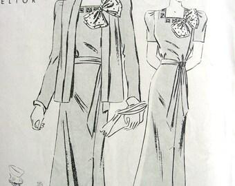 UNCUT 1940's Butterick Pattern 8012  - FABULOUS Misses' Four-Piece Wrap-Around Skirt Dress & Jacket   - Size 18  Bust 36