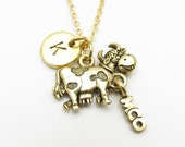 Cow Necklace, Gold Cow Charm, Initial Necklace, Personalized Stamped Initial, Farm Animal Charm, Antique Gold Cow, Monogram Necklace Z026