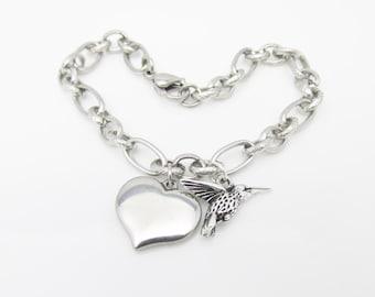 Hummingbird and Heart Charm Bracelet. Stainless Steel Chain. (E009)