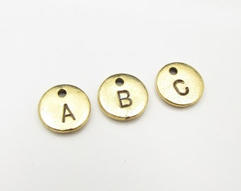 INITIAL Charm. Add Custom Stamped Initial Charm. Gold Initial Pendant for Monogram Necklace and Bracelet. Antique Gold