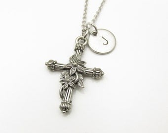 Cross Necklace and Initial, Silver Cross with Flowers Charm, Initial Necklace, Personalized Stamped Monogram, Religious Cross Charm (Y065)