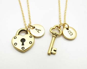 Lock and Key Necklaces, His and Hers Couple or Best Friend Pair of Necklaces, Initial Necklace, Personalized Couple Monogram Necklace Z046