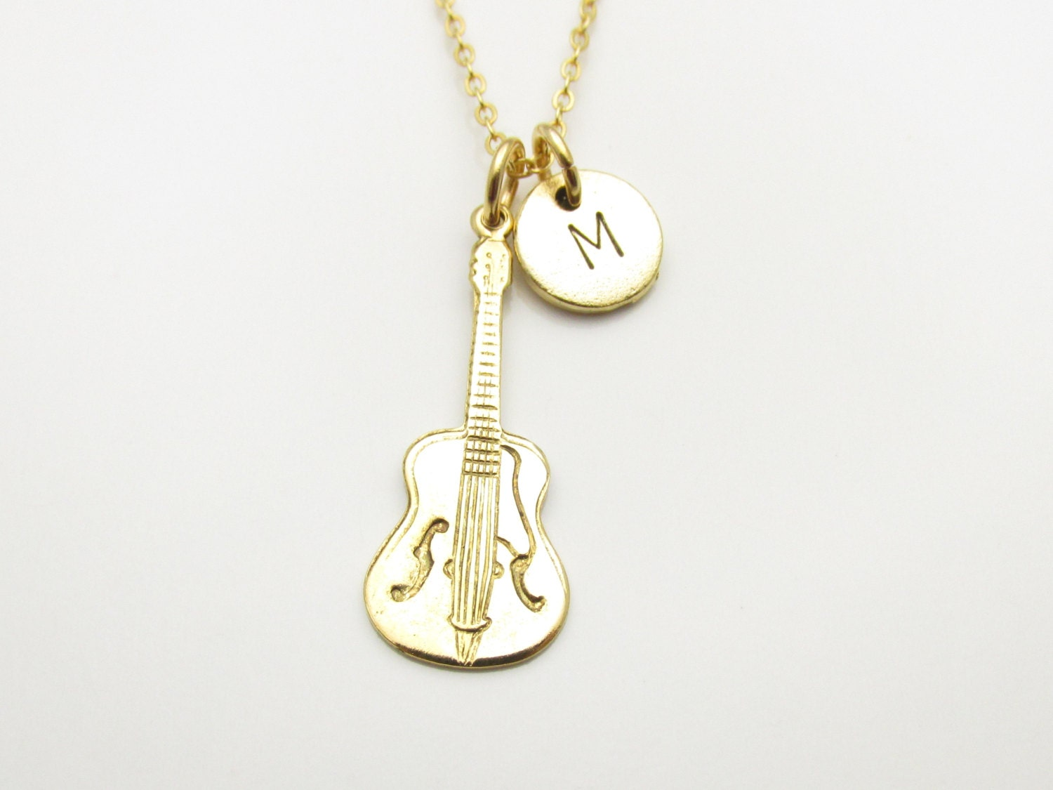 guitar necklace gold guitar charm necklace by