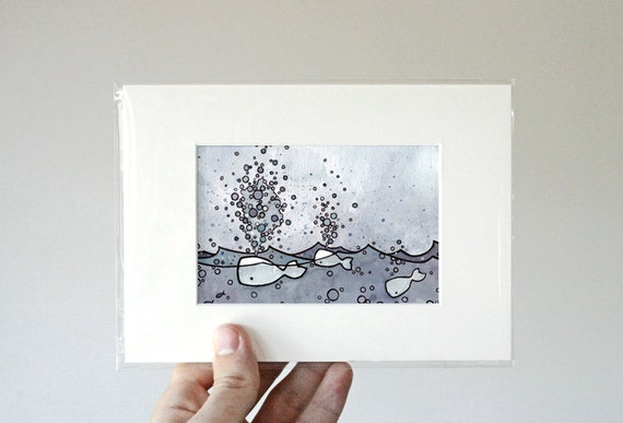 Whale Spouts Miniature Art Print Illustration