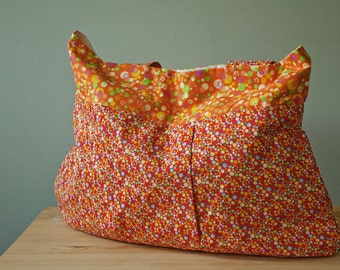 Purse or Project Bag with Bright Polka Dot and Flower Pattern