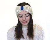 White Wool Headband, Turban Headband, Winter Headband Off-white, Ponytail Hat in White, Wool Headband in Cream