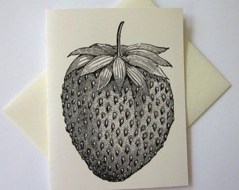 Strawberry Fruit Note Cards Set of 10 with Matching Envelopes
