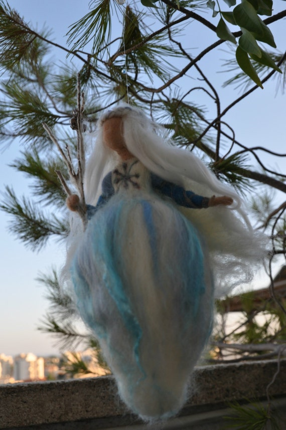 Waldorf Winter. Snow Fairy. Wall hanging Angel Ornament