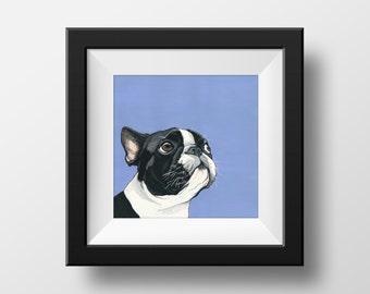 Boston Terrier Art Print - Dog art print - Boston Terrier dog - Boston Terrier painting -  Art print - Dog lover gift idea