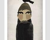Lumberjack and Crow Beard and Mustache - Original Graphic Art PRINT SIGNED