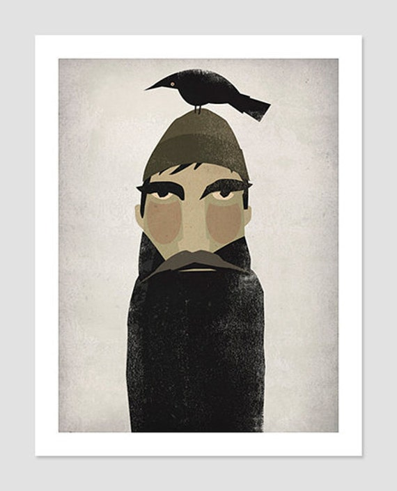 Lumberjack and Crow Beard and Mustache - Original Graphic Art PRINT SIGNED