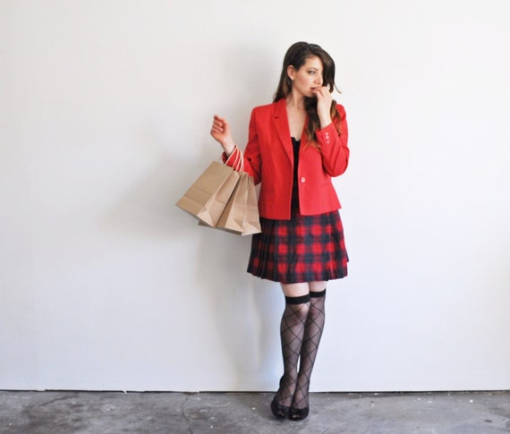 1990s Clueless blazer . preppy lipstick red jacket .medium