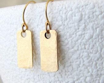 Gold Hammered Earrings Gold Stick Earrings Gold Tab Twig Earrings Gold Bar Earrings Gold Dangle Earrings Rustic Gold Earrings Gift for Her