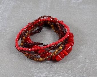 Firey Red Stack of yoga bracelets gemstone bracelets - garnet, coral and shell
