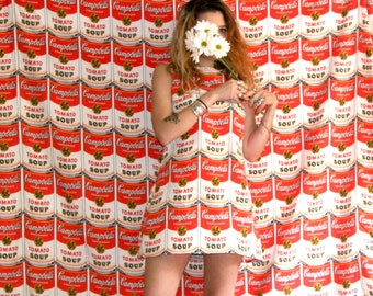 Campbell's Soup Dress / 60s Mod Dress / Andy Warhol Dress Sz XS S M L