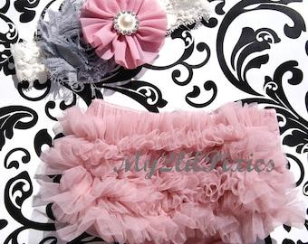 Baby Girl Shabby Chic Set- Ruffle Bum Baby Bloomer, Inspired Vintage Shabby Chic Frayed Flower headband, Lace headband, Vintage pink, ruffl