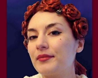 wedding hair hairclip bridal hair clip flower hair pieces clip in Hair extensions floral rose accessories custom Rosette Roses fake hair