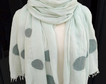 Handmade Scarf, Felt Scarf, Nunofelt Scarf, Scarf with Dots for Women and Men in Green, Black, Blue or Rosé