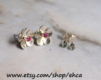 Sterling Silver Flower Earrings with Interchangeable Gemstone Posts