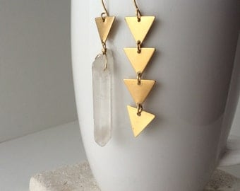 Asymmetrical Earrings | Raw Quartz | Geometric | Asymmetrical Brass Triangle Earrings | E100001