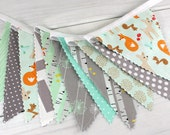 Banner Bunting, Nursery Decor, Photography Prop, Woodland Fabric Flags - Woodland Animals, Mint Green, Gray, Foxes, Deer, Grey
