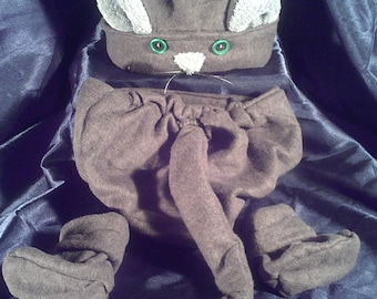 Kitty baby outfit Diaper Cover Hat and Booties